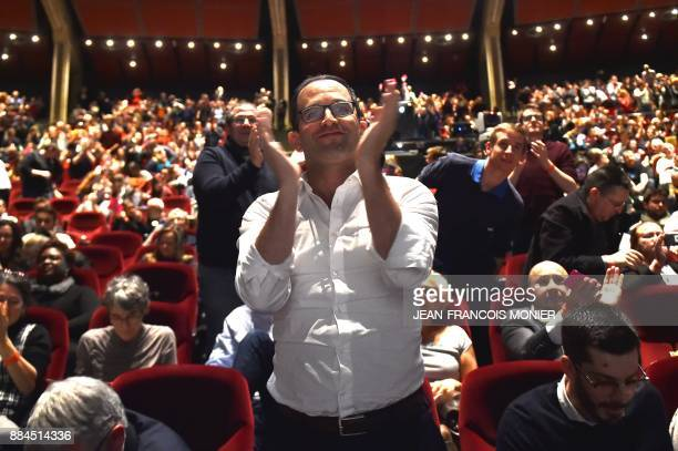 Benoit Hamon leader of the leftwing political movement Generations applauds following the voting of the movement's charter during the Generations...