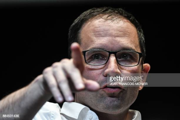 Benoit Hamon leader of the leftwing political movement Generations gestures during the movement's founding congress in Le Mans western France on...