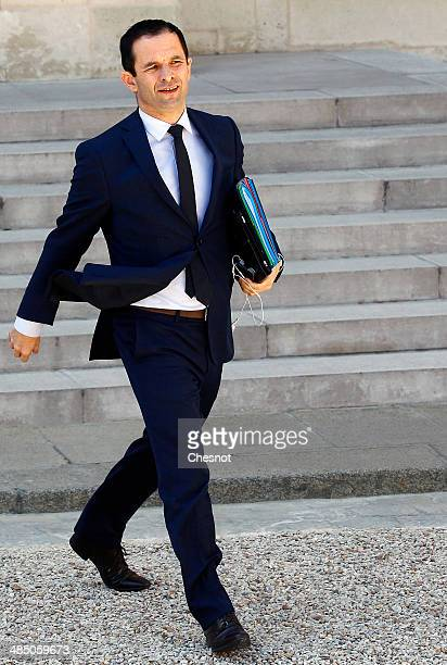 Benoit Hamon Minister of National Education Higher Education and Research leaves after a cabinet meeting at the Elysee Palace on April 16 2014 in...