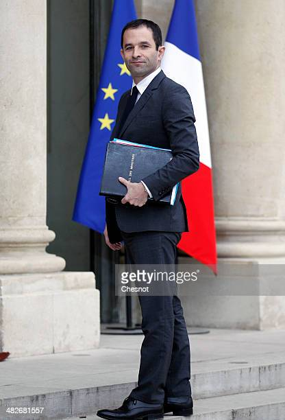 Benoit Hamon Minister of National Education Higher Education and Research arrives to attend a cabinet meeting at the Elysee Palace on April 4 2014 in...