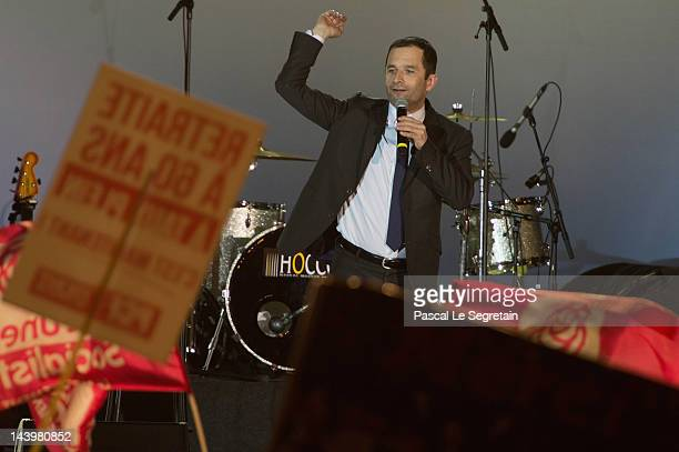 Benoit Hamon speaks at Place de la Bastille after Francois Hollande wins the French Presidential Elections on May 6 2012 in Paris France Socialist...