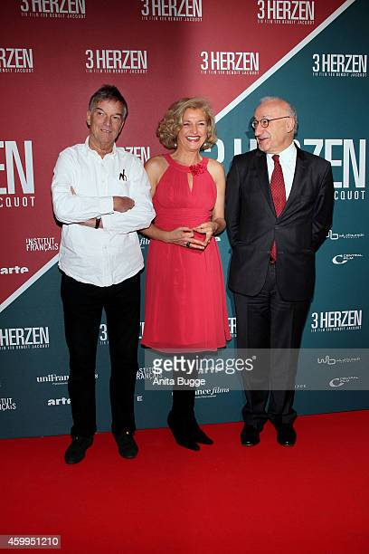 Benoit Jacquon Annette Gerlach and Philippe Etienne attend the German premiere of the film '3 Coeurs' during the 14th French Film Week at Kino...