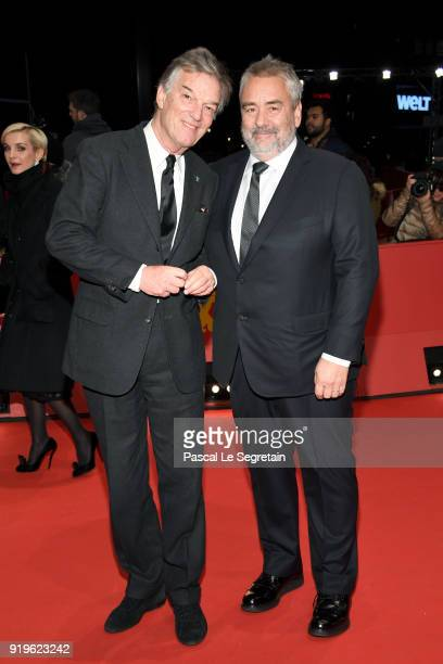 Benoit Jacquot and Luc Besson attend the 'Eva' premiere during the 68th Berlinale International Film Festival Berlin at Berlinale Palast on February...