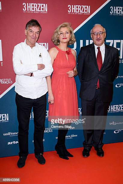 Benoit Jacquot Annette Gerlach and Philippe Etienne attend the German premiere of the film '3 Coeurs' during the 14th French Film Week at Kino...