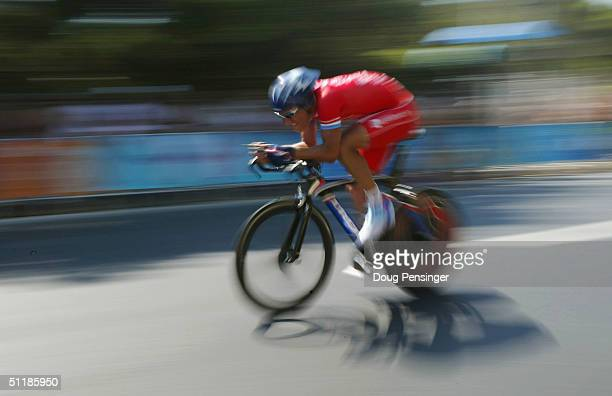 Benoit Jochim of Luxembourg competes in the men's road cycling individual time trial on August 18 2004 during the Athens 2004 Summer Olympic Games at...