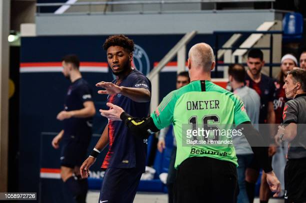 Benoit Kounkoud and Thierry Omeyer of Paris Saint Germain during the Lidl Starligue match between Paris Saint Germain and Pays d'Aix Universite Club...