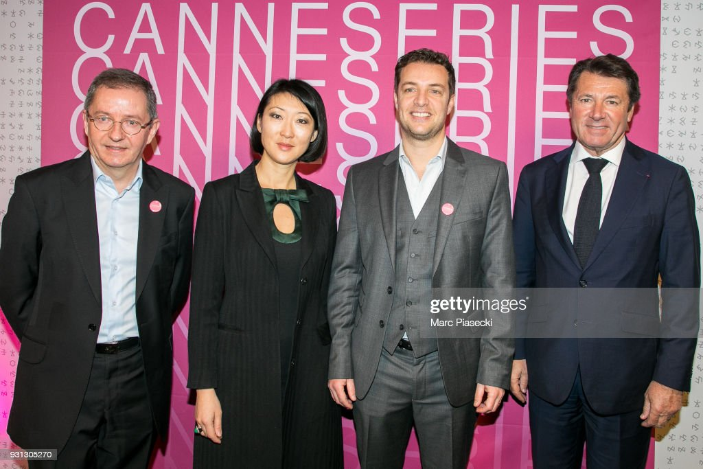 Benoit Louvet, Fleur Pellerin, Albin Lewi and Christina Estrosi attend the 'CanneSeries 2018' press conference on March 13, 2018 in Paris, France.