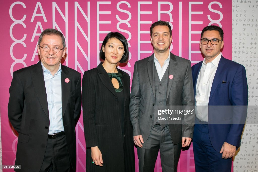 Benoit Louvet, Fleur Pellerin, Albin Lewi and Maxime Saada attend the 'CanneSeries 2018' press conference on March 13, 2018 in Paris, France.