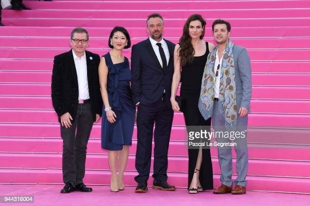 Benoit LouvetFleur Pellerin Tom Waes Anna Drijver and Albin Lewi attend Miguel and Undercover screening during the 1st Cannes International Series...