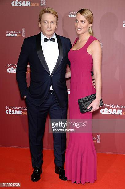 Benoit Magimel and a guest arrive at The Cesar Film Awards 2016 at Theatre du Chatelet on February 26 2016 in Paris France