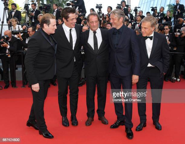 Benoit Magimel Benicio Del Toro Vincent LindonMads Mikkelsen and Christoph Waltz attend the 70th Anniversary screening during the 70th annual Cannes...