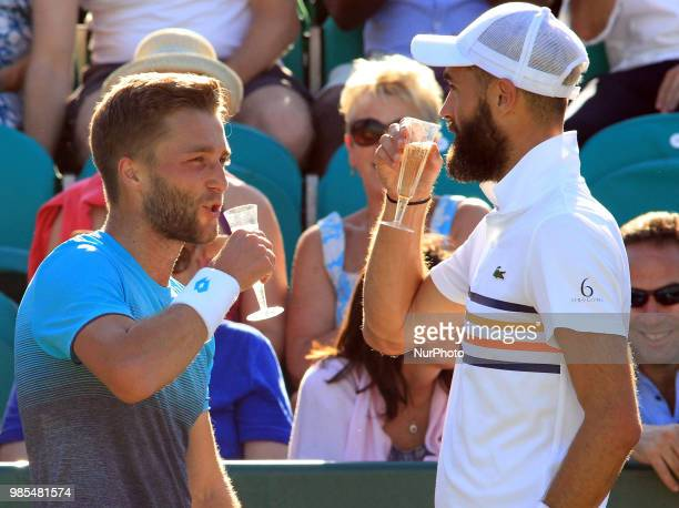 Benoit Paire and Liam Broady during his match against Liam Broady day one of The Boodles Tennis Event at Stoke Park on June 26 2018 in Stoke Poges...