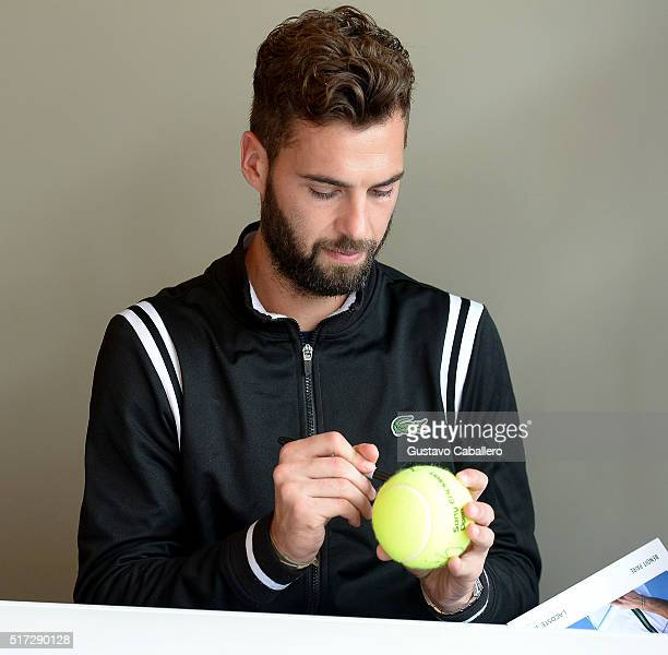 Benoit Paire attends the Miami Open Celebrity Sightings at Crandon Park Tennis Center on March 24 2016 in Key Biscayne Florida