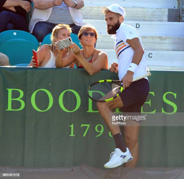 Benoit Paire during his match against Liam Broady day one of The Boodles Tennis Event at Stoke Park on June 26 2018 in Stoke Poges England