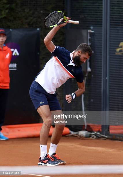 Benoit Paire nervous throw the racket during the ATP Internazionali d'Italia BNL first round match at Foro Italico in Rome Italy on May 12 2019