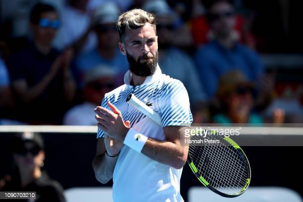 Benoit Paire of France applauds during the first round match against Cameron Norrie of Great Britain during the ASB Classic at the ASB Tennis Centre...