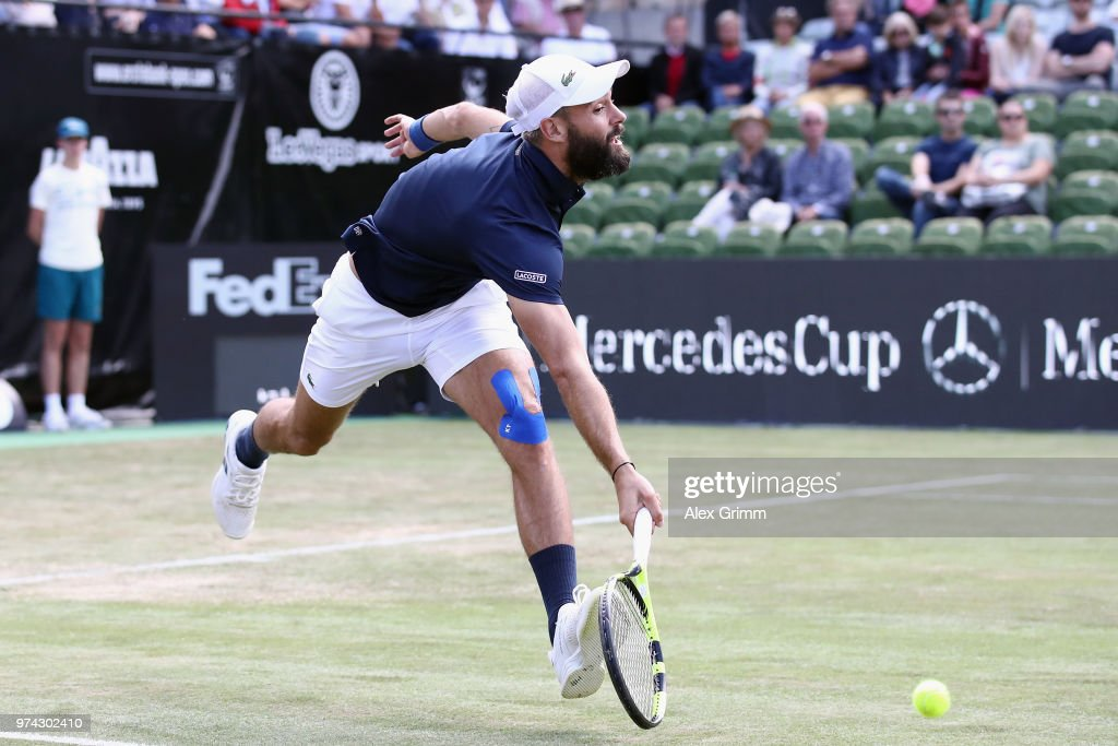 Benoit Paire of France attempts to reach the ball during his match against Tomas Berdych of Czech Republic during day 4 of the Mercedes Cup at Tennisclub Weissenhof on June 14, 2018 in Stuttgart, Germany.