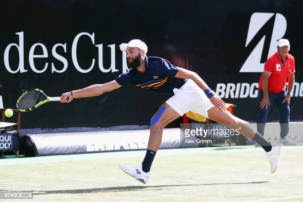 Benoit Paire of France attempts to reach the ball during his match against Tomas Berdych of Czech Republic during day 4 of the Mercedes Cup at...