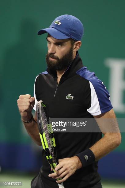 Benoit Paire of France celebrates a point in the Qualifying match against Runhao Hua of China in 2018 Rolex Shanghai Masters at Qizhong Qi Zhong...