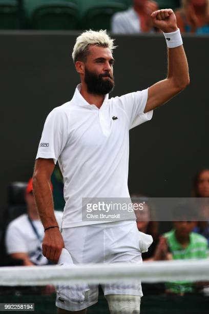 Benoit Paire of France celebrates after defeating Denis Shapovalov of Canada in their Men's Singles second round match on day four of the Wimbledon...