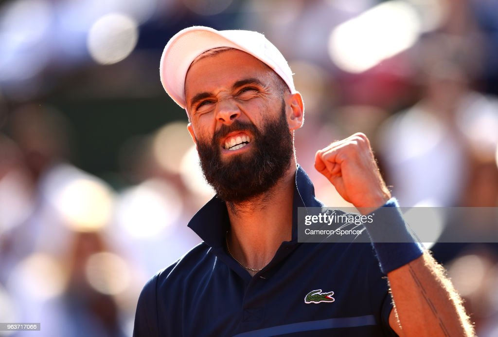 Benoit Paire of France celebrates during his mens single second round match against Kei Nishikori of Japan during day four of the 2018 French Open at Roland Garros on May 30, 2018 in Paris, France.