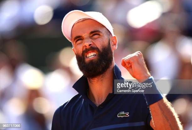 Benoit Paire of France celebrates during his mens single second round match against Kei Nishikori of Japan during day four of the 2018 French Open at...
