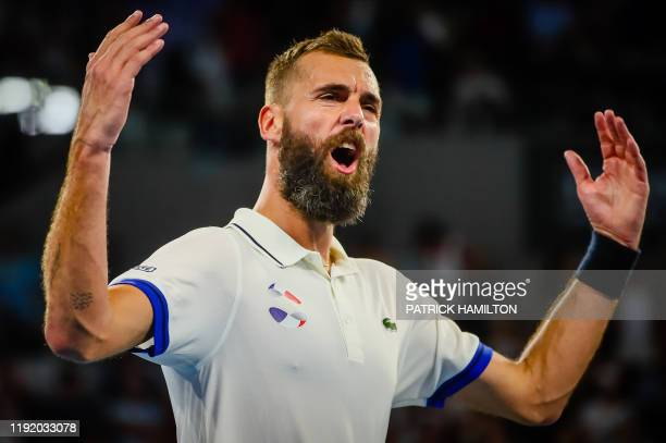 TOPSHOT Benoit Paire of France celebrates his victory against Dusan Lajovic of Serbia during their men's singles match on day four of the ATP Cup...