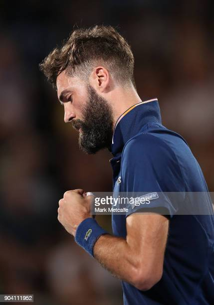 Benoit Paire of France celebrates winning a point in his semi final match against Alex de Minaur of Australia during day six of the 2018 Sydney...