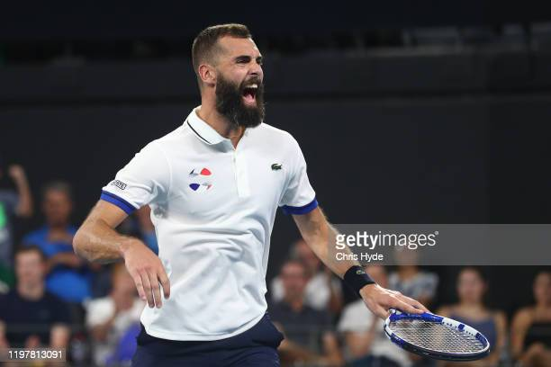 Benoit Paire of France celebrates winning his match against Dusan Lajovic of Serbia during day four of the 2020 ATP Cup Group Stage at Pat Rafter...