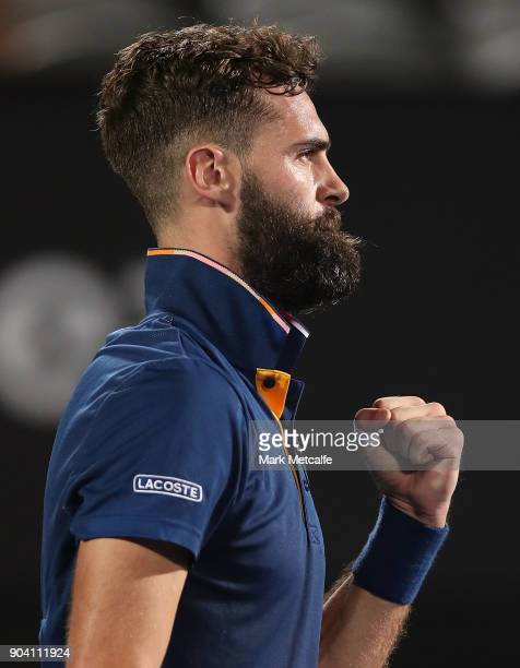 Benoit Paire of France celebrates winning set point in his semi final match against Alex de Minaur of Australia during day six of the 2018 Sydney...