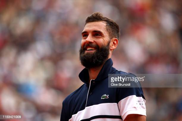 Benoit Paire of France celebrates winning the fourth set during his mens singles fourth round match against Kei Nishikori of Japan during Day nine of...