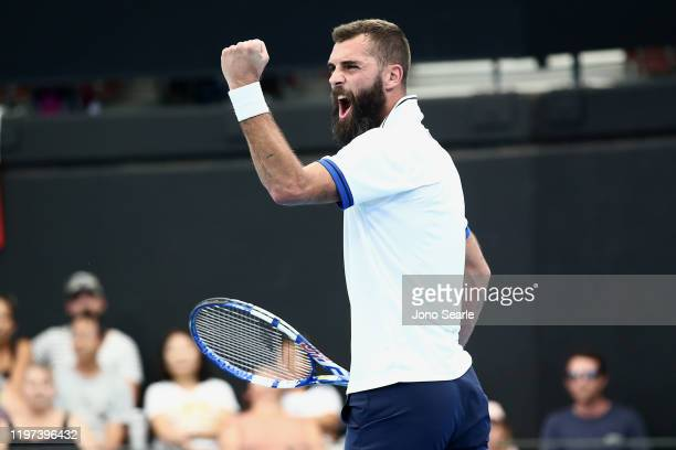 Benoit Paire of France celebrates winning the match against Nicolas Jarry of Chile during day two of the 2020 ATP Cup Group Stage at Pat Rafter Arena...