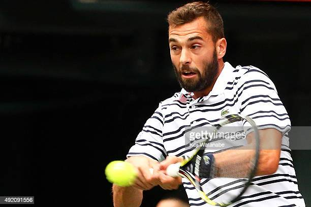 Benoit Paire of France competes against Kei Nishikori of Japan during the men's singles semi final match on Day Six of the Rakuten Open 2015 at...