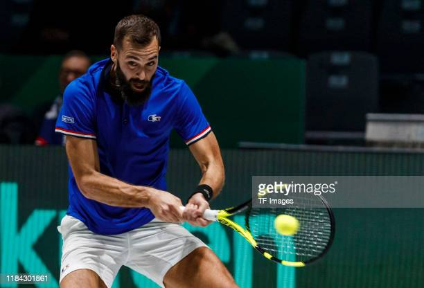Benoit Paire of France controls the ball during Day Four of the 2019 David Cup at La Caja Magica on November 21 2019 in Madrid Spain