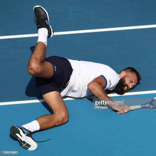 Benoit Paire of France falls over in the mens singles final against Ugo Humbert of France during day eight of the 2020 ASB Classic at the ASB Tennis...