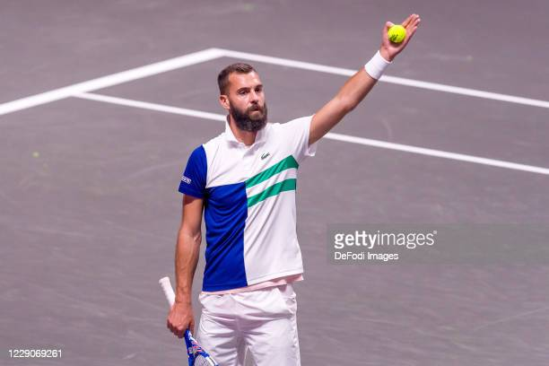 Benoit Paire of France gestures during day three of the Bett1Hulks Indoor tennis tournament between Benoit Paire and Dennis Novak at Lanxess Arena on...