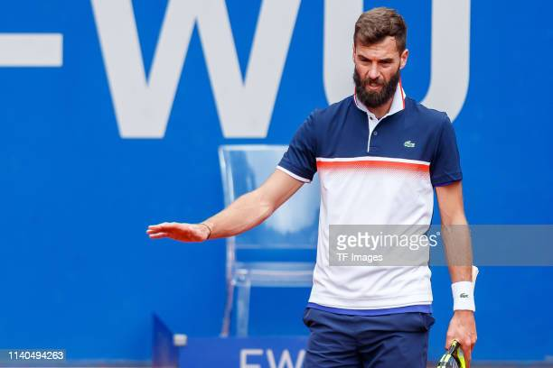 Benoit Paire of France gestures during the BMW Open by FWU at MTTC IPHITOS on April 30 2019 in Munich Germany