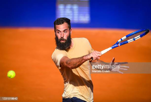 Benoit Paire of France hits a backhand during a match against Francisco Cerundolo of Argentina as part of day 4 of ATP Buenos Aires Argentina Open...