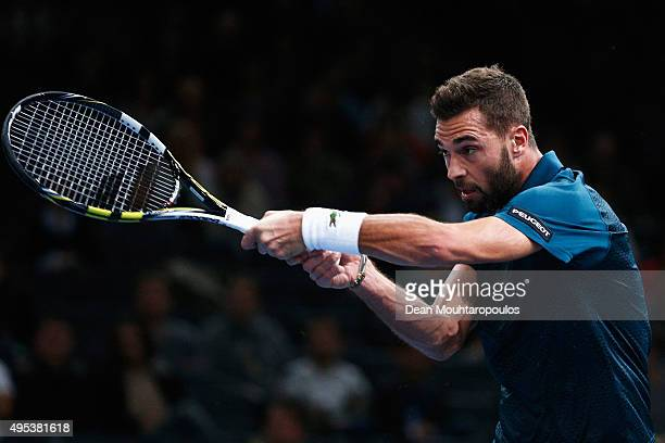Benoit Paire of France in action against Gael Monfils of France during Day 1 of the BNP Paribas Masters held at AccorHotels Arena on November 2 2015...
