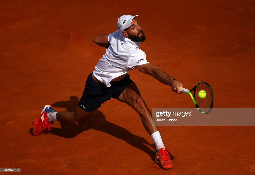 Benoit Paire of France in action against Marin Cilic of Croatia during day five of the Internazionali BNL d'Italia 2018 tennis at Foro Italico on May 17, 2018 in Rome, Italy.