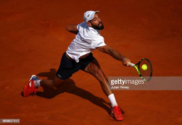 Benoit Paire of France in action against Marin Cilic of Croatia during day five of the Internazionali BNL d'Italia 2018 tennis at Foro Italico on May...