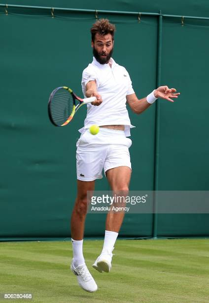 Benoit Paire of France in action against Rogerio Dutra Silva of Brazil on day one of the 2017 Wimbledon Championships at the All England Lawn and...