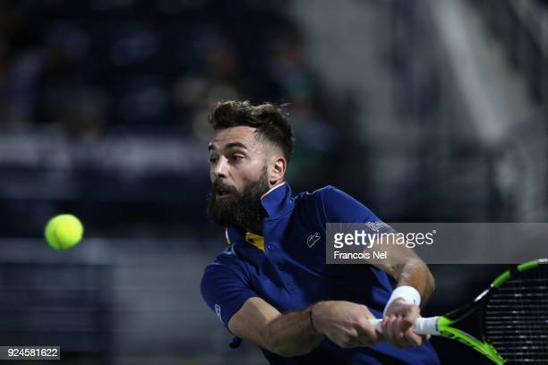 Benoit Paire of France in action against Yoshihito Nishioka of Japan during day one of the ATP Dubai Duty Free Tennis Championships at the Dubai Duty...