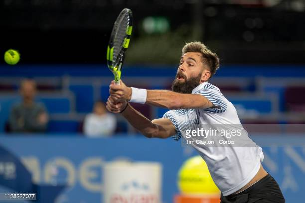 Benoit Paire of France in action along with his partner Leander Paes of Indian against Ivan Dodig of Croatia and Edouard RogerVasselin of France in...