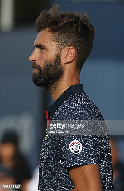 Benoit Paire of France in action during a doubles match on day 5 of the 2016 US Open at USTA Billie Jean King National Tennis Center on September 2...