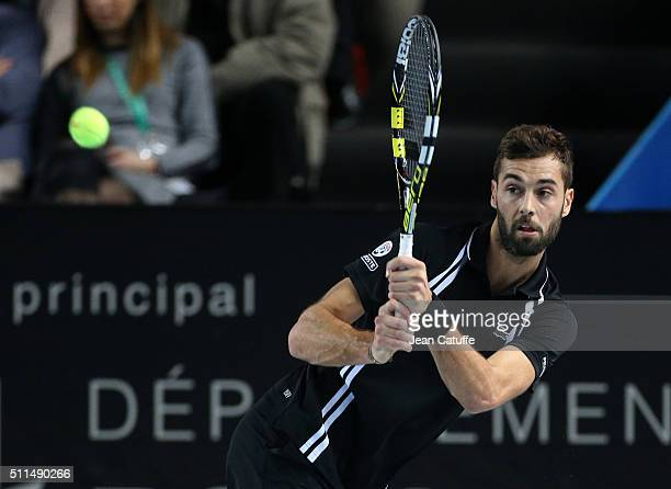 Benoit Paire of France in action during his quarter-final at the Open 13, an ATP Tour 250 tournament at Palais des Sports on February 19, 2016 in...