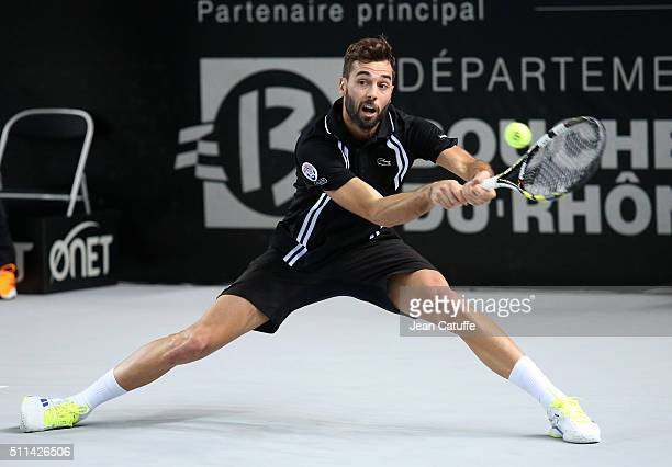 Benoit Paire of France in action during his semi-final at the Open 13, an ATP Tour 250 tournament at Palais des Sports on February 20, 2016 in...