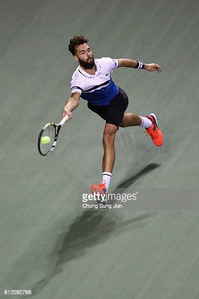 Benoit Paire of France in action during the men's singles first round match against Marin Cilic of Croatia on day one of Rakuten Open 2016 at Ariake...