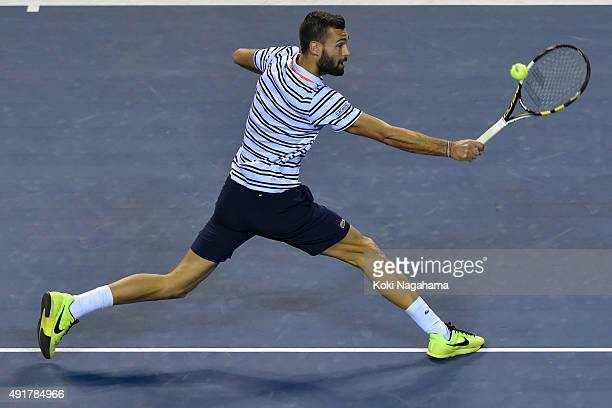 Benoit Paire of France in action during the men's singles match against Marcos Baghdatis of Cyprus on day four of Rakuten Open 2015 at Ariake...