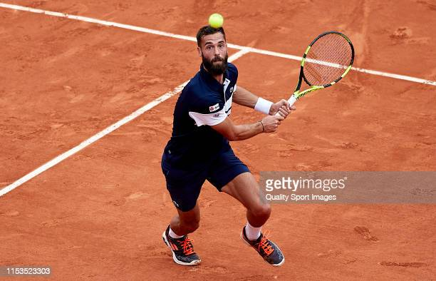 Benoit Paire of France in action in his mens singles fourth round match against Kei Nishikori of Japan during Day nine of the 2019 French Open at...